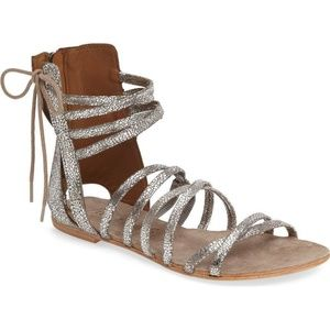 FREE PEOPLE 'Juliette' Silver Gladiator Sandals